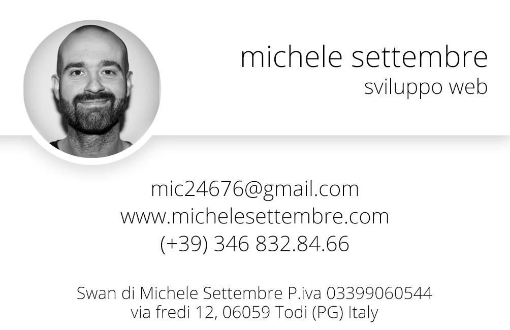 Michele Settembre - Sviluppo web - Biglietto da visita